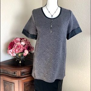 Forever 21 Quilted Short Sleeve Tunic Top